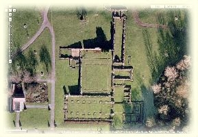 Ruins of Lesnes Abbey from the air